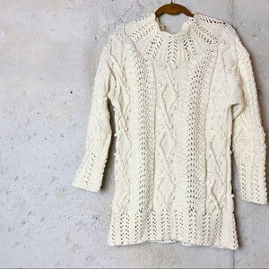 Vintage cream chunky hand crocheted sweater